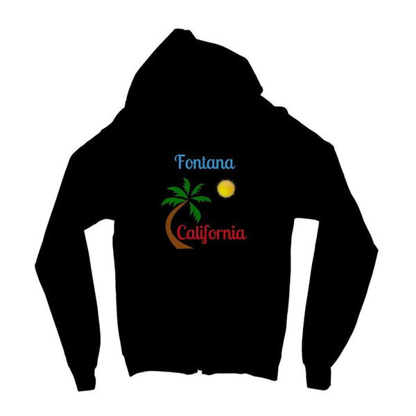 Fontana California Palm Sun Kids Zip Hoodie 3-4 Years / Jet Black Apparel