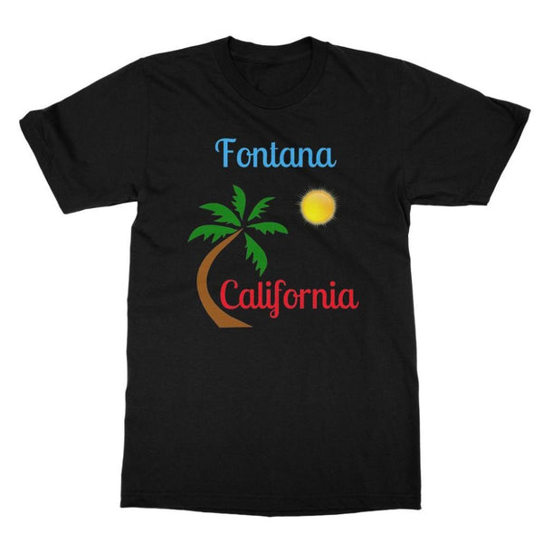 Fontana California Palm Sun Softstyle Ringspun T-Shirt S / Black Apparel