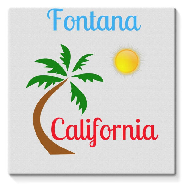 Fontana California Palm Sun Stretched Eco-Canvas 10X10 Wall Decor