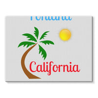 Fontana California Palm Sun Stretched Eco-Canvas 24X18 Wall Decor