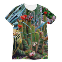 Fowering Cactus In A Garden Sublimation T-Shirt S Apparel