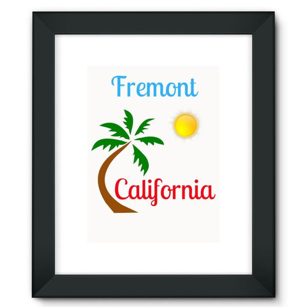 Fremont California Palm Sun Framed Fine Art Print 12X16 / Black Wall Decor