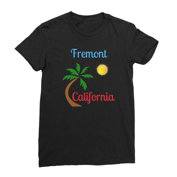 Fremont California Palm Sun Womens Fine Jersey T-Shirt S / Black Apparel