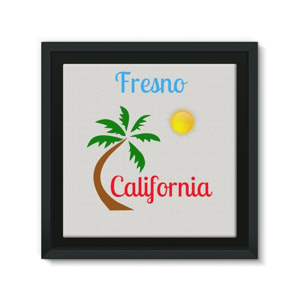Fresno California Palm Sun Framed Canvas 12X12 Wall Decor