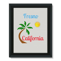 Fresno California Palm Sun Framed Canvas 18X24 Wall Decor