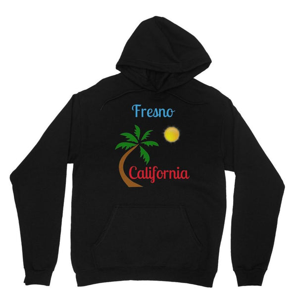 Fresno California Palm Sun Heavy Blend Hooded Sweatshirt Xs / Black Apparel
