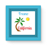 Fresno California Palm Sun Magnet Frame Light Blue Homeware