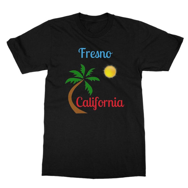 Fresno California Palm Sun Softstyle Ringspun T-Shirt S / Black Apparel