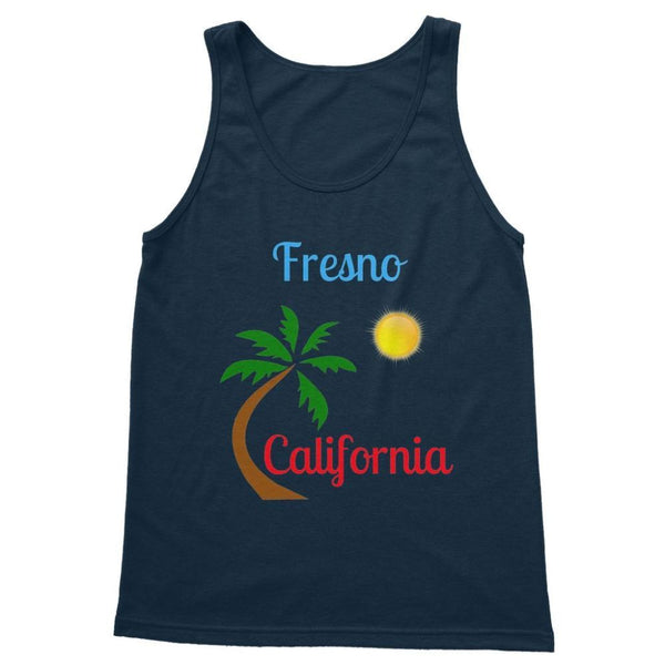 Fresno California Palm Sun Softstyle Tank Top S / Navy Apparel