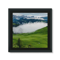 Full Green Mountain Framed Canvas 14X14 Wall Decor