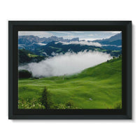 Full Green Mountain Framed Canvas 16X12 Wall Decor