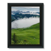 Full Green Mountain Framed Canvas 24X32 Wall Decor