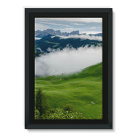 Full Green Mountain Framed Canvas 24X36 Wall Decor