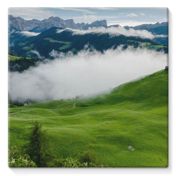 Full Green Mountain Stretched Canvas 10X10 Wall Decor