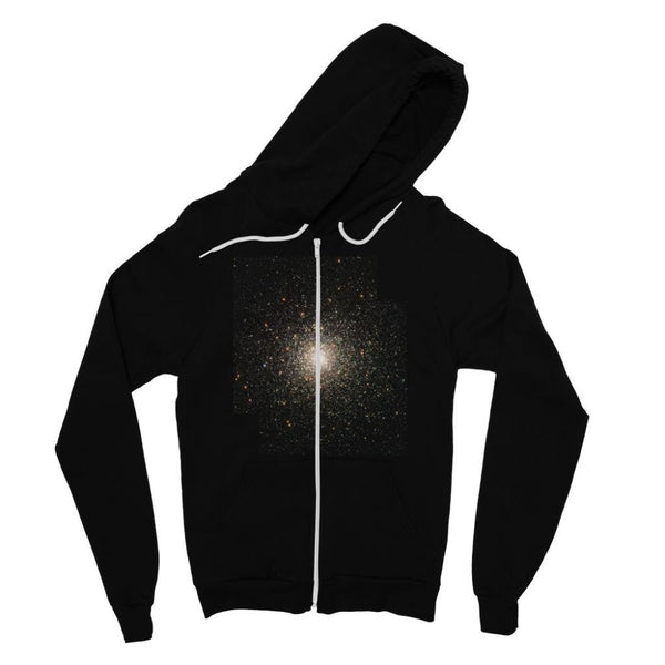 Galaxy Surrounded With Stars Fine Jersey Zip Hoodie S / Black Apparel