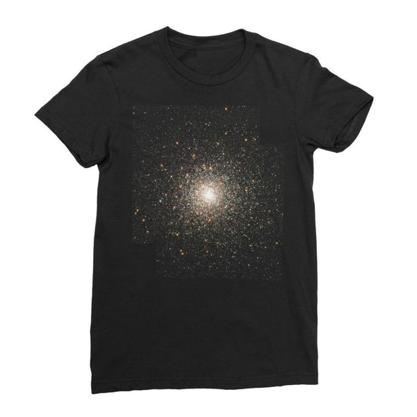 Galaxy Surrounded With Stars Womens Fine Jersey T-Shirt S / Black Apparel