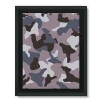 Gray Army Camo Pattern Framed Canvas 12X16 Wall Decor