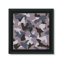 Gray Army Camo Pattern Framed Canvas 14X14 Wall Decor