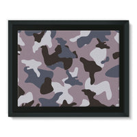 Gray Army Camo Pattern Framed Canvas 16X12 Wall Decor