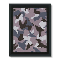 Gray Army Camo Pattern Framed Canvas 18X24 Wall Decor