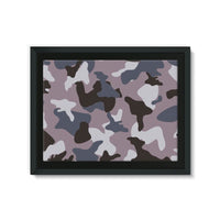 Gray Army Camo Pattern Framed Canvas 24X18 Wall Decor