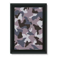 Gray Army Camo Pattern Framed Canvas 24X36 Wall Decor