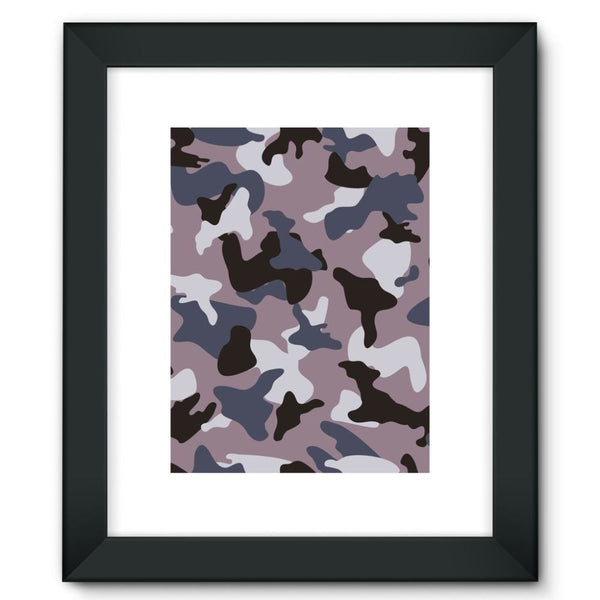 Gray Army Camo Pattern Framed Fine Art Print 12X16 / Black Wall Decor