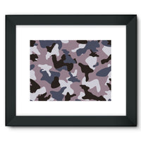 Gray Army Camo Pattern Framed Fine Art Print 16X12 / Black Wall Decor