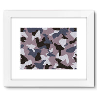 Gray Army Camo Pattern Framed Fine Art Print 16X12 / White Wall Decor