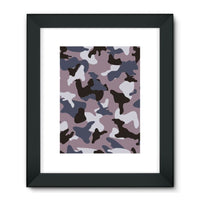 Gray Army Camo Pattern Framed Fine Art Print 18X24 / Black Wall Decor