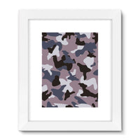 Gray Army Camo Pattern Framed Fine Art Print 18X24 / White Wall Decor