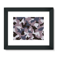 Gray Army Camo Pattern Framed Fine Art Print 24X18 / Black Wall Decor