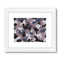 Gray Army Camo Pattern Framed Fine Art Print 24X18 / White Wall Decor