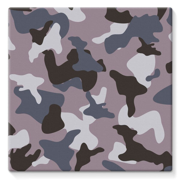 Gray Army Camo Pattern Stretched Eco-Canvas 10X10 Wall Decor
