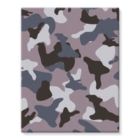 Gray Army Camo Pattern Stretched Eco-Canvas 11X14 Wall Decor