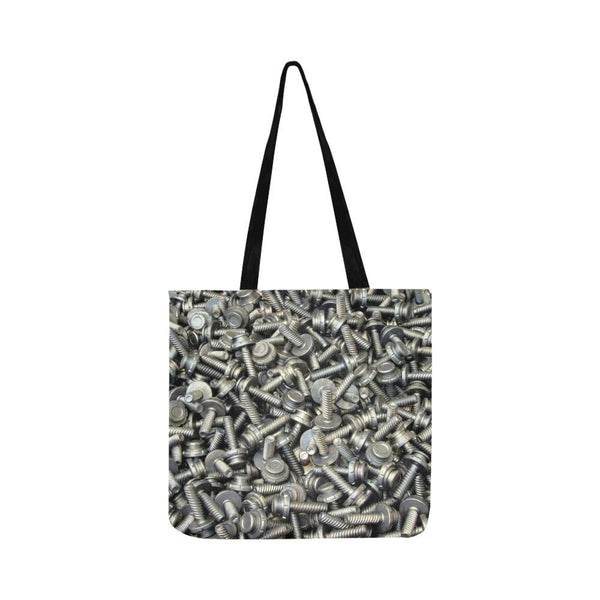 Gray Bolt Nut Pattern Reusable Tote Shopping Bag (Two Sides) (1660)