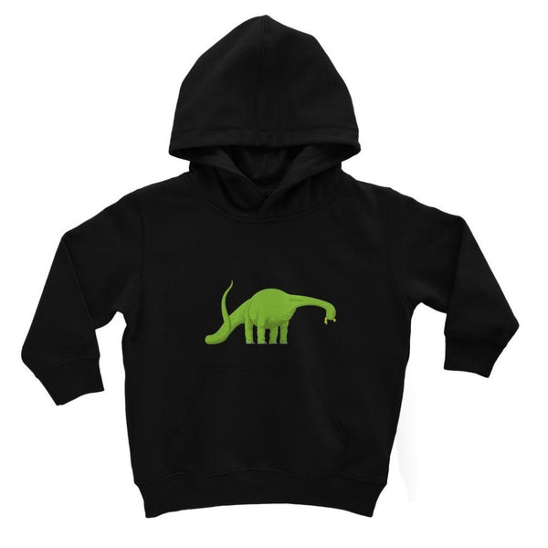 Green Brontosaurio Dinosaur Kids Hoodie 3-4 Years / Jet Black Apparel