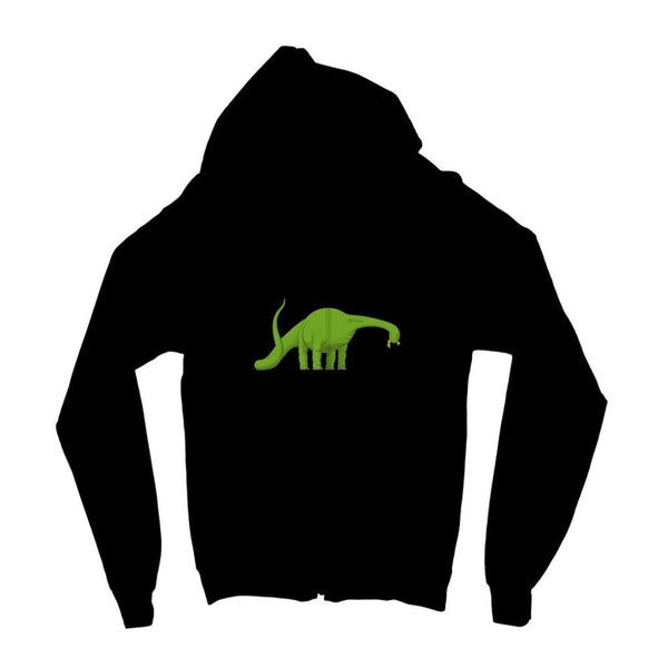 Green Brontosaurio Dinosaur Kids Zip Hoodie 3-4 Years / Jet Black Apparel