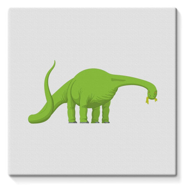 Green Brontosaurio Dinosaur Stretched Canvas 10X10 Wall Decor