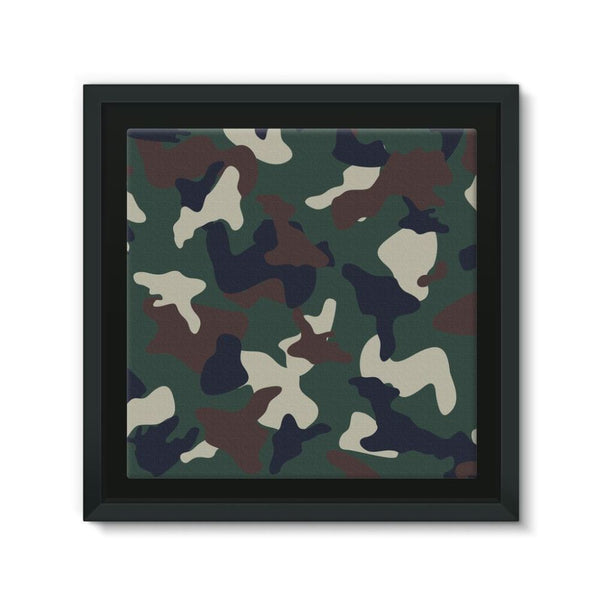 Green Brown Woodland Camo Framed Canvas 12X12 Wall Decor