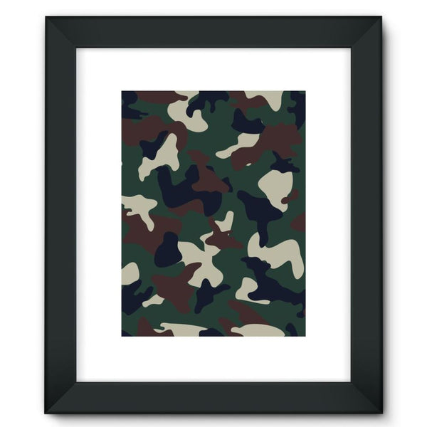 Green Brown Woodland Camo Framed Fine Art Print 12X16 / Black Wall Decor