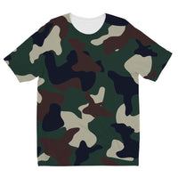 Green Brown Woodland Camo Kids Sublimation T-Shirt 3-4 Years Apparel