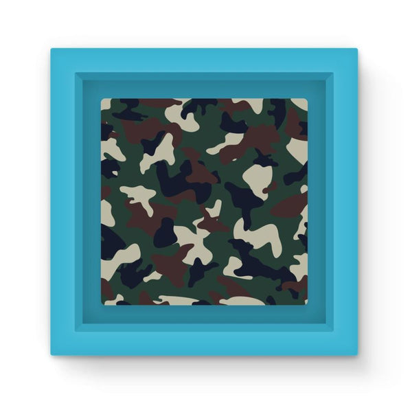 Green Brown Woodland Camo Magnet Frame Light Blue Homeware
