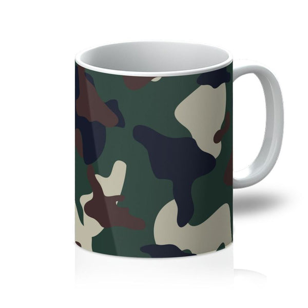 Green Brown Woodland Camo Mug 11Oz Homeware