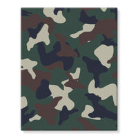 Green Brown Woodland Camo Stretched Eco-Canvas 11X14 Wall Decor