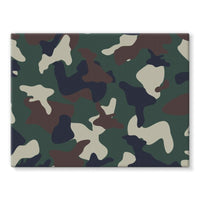 Green Brown Woodland Camo Stretched Eco-Canvas 24X18 Wall Decor