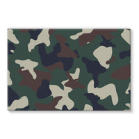 Green Brown Woodland Camo Stretched Eco-Canvas 30X20 Wall Decor
