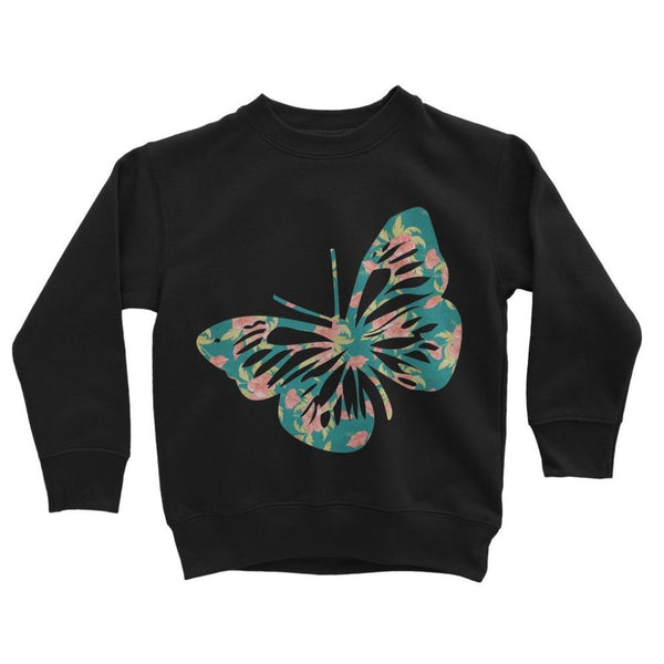 Green Cayenne Butterfly Kids Sweatshirt 3-4 Years / Jet Black Apparel