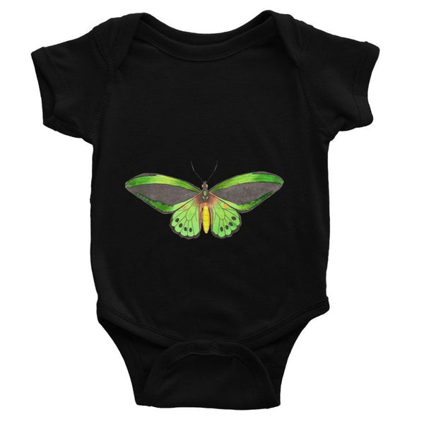 Green Grey Butterfly Baby Bodysuit 0-3 Months / Black Apparel