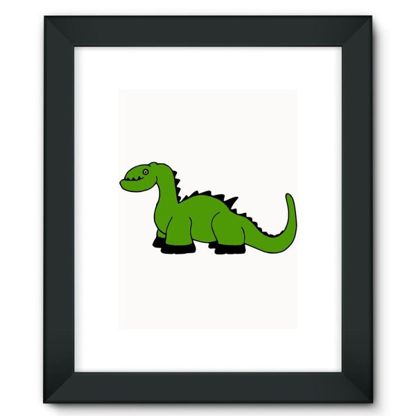 Green Kid Dinosaur Framed Fine Art Print 12X16 / Black Wall Decor